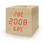 Ξύλινο Ψηφιακό Θερμόμετρο/Υγρόμετρο Εσωτερικού Χώρου με Ρολόι, Ξυπνητήρι και Ημερολόγιο