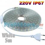 Ανθεκτική Λευκή Αδιάβροχη IP67 220V Ταινία LED 5m Heavy Duty Σετ