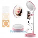 Καθρέπτης Live Streaming Μακιγιάζ με Φωτισμό Δαχτυλίδι LED με Βάση Κινητού  2 σε 1 - Πτυσσόμενο Φωτογραφικό Δαχτυλίδι Make up Mirror w/ Ring light