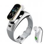 Ασύρματο Ακουστικό & SmartWatch Bluetooth -  Fitness Bracelet με Μετρητή Καρδιάς, Αρτηριακής Πίεσης, Ύπνου, Οξύμετρο - Μαύρο / Άσπρο