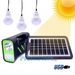Ηλιακό Σύστημα Φωτισμού & Φόρτισης με Πάνελ 3,5W, Μπαταρία, Φακό 200LM & Φωτιστικό 150LM + 3 Λάμπες LED 90 Lumens