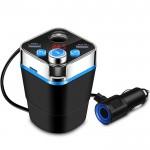 Ασύρματος Πομπός Αυτοκινήτου Bluetooth USB, SD, MP3 Player, 2 x Φορτιστής Dual USB & Βολτόμετρο για Ποτηροθήκη - Cup Car FM Transmitter 12V & 24V