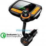 Ασύρματος Πομπός Bluetooth με Μεγάλη Οθόνη, USB, SD, AUX, MP3 Player, Φορτιστής 2x USB Fast Charge & Βολτόμετρο Αυτοκινήτου - Car FM Transmitter