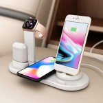 Ασύρματη Βάση Φόρτισης 5 σε 1 - Multi-Function Charging Stand for iPhone/Micro USB/Type-C Phone, Wireless & iWatch/AirPods Charger Λευκό
