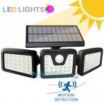 Αδιάβροχο Τριπλό Ηλιακό Ευρυγώνιο Φωτιστικό 270ᵒ LED με Ανιχνευτή Κίνησης, Φωτοκύτταρο, 3 Λειτουργίες Φωτισμού - Επιτοίχιος Προβολέας Εξωτερικού Χώρου