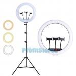 Φωτογραφικό Δαχτυλίδι 3 x Βάσεων Κινητού & Κάμερας - USB Φωτιστικό Ring Lamp Light LED 32cm με 3 Χρώματα Φωτισμού, Dimmer & Τρίποδο