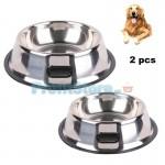 Σετ Αντιολισθητικά Ανοξείδωτα Μπολ Φαγητού - Νερού Σκύλων 22cm και 34cm