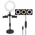 Επαγγελματικό Φωτογραφικό Φωτιστικό Δαχτυλίδι LED 26cm Πτυσσόμενο με 3 Βάσεις Στήριξης Κινητού - Ring Light Lamp