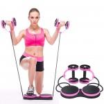 Όργανο Ολικής Εκγύμνασης με Λάστιχα - Multifunction Abdominal Wheel Ροζ