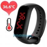 Έξυπνο Θερμόμετρο - Ρολόι Χειρός Bracelet USB - Intelligent Temperature Measurement Smart Watch Band Μαύρο