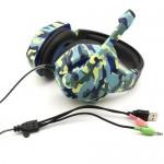 Gaming Ρυθμιζόμενα Ακουστικά Κεφαλής On Ear με USB Jacks 3,5mm & Μικρόφωνο για Υπολογιστή - Ενσύρματα PC Headset Μπλε Παραλλαγής