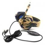 Gaming Ρυθμιζόμενα Ακουστικά Κεφαλής On Ear με USB Jacks 3,5mm & Μικρόφωνο για Υπολογιστή - Ενσύρματα PC Headset  Καφέ Παραλλαγής