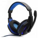 Gaming Ρυθμιζόμενα Ακουστικά Κεφαλής με Μικρόφωνο Jack 3,5mm On Ear για Υπολογιστή - Ενσύρματα PC& PS4 Headset Μπλε Μαύρο