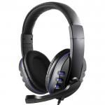 Ρυθμιζόμενα Gaming Ακουστικά On Ear Κεφαλής με Μικρόφωνο & Jack 3.5mm - PC PS4 Headset Μπλε