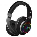 Ασύρματα & Ενσύρματα On-ear Bluetooth LED Ακουστικά - Super Bass Foldable Wireless Headphones Μαύρο