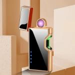 Επαναφορτιζόμενος Αντιανεμικός Arc Αναπτήρας με Αισθητήρα Λέιζερ - Plasma Arc Lighter USB Brown-Black