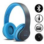 Ασύρματα & Ενσύρματα On-Ear Αναδιπλούμενα Ακουστικά Bluetooth, Aux, Handsfree - Wireless Headphones Μπλε