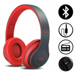 Ασύρματα & Ενσύρματα On-Ear Αναδιπλούμενα Ακουστικά Bluetooth, Aux, Handsfree - Wireless Headphones Κόκκινο