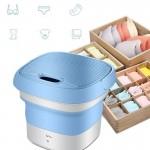 Μίνι Φορητό Πλυντήριο Αναδιπλούμενο USB Ταξιδιού για Απολύμανση με Όζον - Foldable Washing Machine Μπλε
