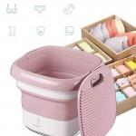 Μίνι Φορητό Πλυντήριο Αναδιπλούμενο USB Ταξιδιού για Απολύμανση με Όζον - Foldable Washing Machine Ροζ