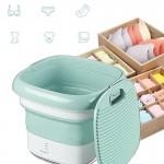 Μίνι Φορητό Πλυντήριο Αναδιπλούμενο USB Ταξιδιού για Απολύμανση με Όζον - Foldable Washing Machine Πράσινο