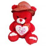 Λούτρινο Αρκουδάκι με Καρδιά στο Στήθος και Καπέλο 35εκ. Καθιστό