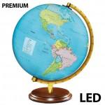 Επαναφορτιζόμενη LED Φωτιζόμενη Premium Υδρόγειος Σφαίρα με Γεωφυσικό Χάρτη 25cm USB με Ξύλινη Βάση- Γη Glowing Globe