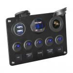 Αδιάβροχο USB Ψηφιακό Βολτόμετρο με Διακόπτες - Panel Marine 12V