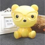 Επιτραπέζιο Παιδικό Φωτιστικό - Πορτατίφ - Φωτάκι Νυκτός Αρκουδάκι με Γυαλιά Κίτρινο LED