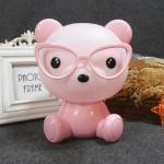 Επιτραπέζιο Παιδικό Φωτιστικό - Πορτατίφ - Φωτάκι Νυκτός Αρκουδάκι με Γυαλιά Ροζ LED