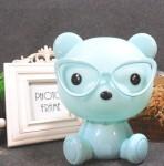 Επιτραπέζιο Παιδικό Φωτιστικό - Πορτατίφ - Φωτάκι Νυκτός Αρκουδάκι με Γυαλιά Γαλάζιο LED