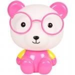Επιτραπέζιο Παιδικό Φωτιστικό - Πορτατίφ - Φωτάκι Νυκτός Αρκούδος με Γυαλιά Ροζ LED