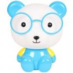 Επιτραπέζιο Παιδικό Φωτιστικό - Πορτατίφ - Φωτάκι Νυκτός Αρκούδος με Γυαλιά Γαλάζιο LED