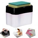 Θήκη για Σφουγγάρι - Δοχείο & Αντλία Υγρού Σαπουνιού - Soap Pump Dispenser & Sponge Caddy Μαύρο
