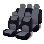 Πλήρες Σετ 8 Τεμαχίων Universal Προστατευτικά Υφασμάτινα Καλύμματα Καθισμάτων Αυτοκινήτου Μαύρα-Γκρι 54151 ΟΕΜ