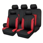 Πλήρες Σετ 8τμχ Universal Προστατευτικά Υφασμάτινα Καλύμματα Καθισμάτων Αυτοκινήτου Μαύρα-Κόκκινα 54170 OEM