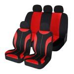 Σετ 8 Τεμαχίων Πολυεστερικά Προστατευτικά Καλύμματα Καθισμάτων Αυτοκινήτου Μαύρα / Κόκκινα 54178