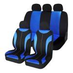 Σετ 8 Τεμαχίων Προστατευτικά Πολυεστερικά Καλύμματα Καθισμάτων Αυτοκινήτου Μαύρα-Μπλε 54179