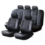 Πλήρες Σετ Πολυτελή Καλύμματα Καθισμάτων Αυτοκινήτου 8 Τεμαχίων Μαύρα Δερματίνη 54180