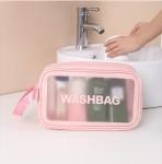 Διαφανής Αδιάβροχη Θήκη - Τσάντα για Καλλυντικά - Waterproof Travel Makeup Bag Ροζ