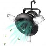 Ηλιακό Φορητό Φωτιστικό LED & Ανεμιστήρας με Λειτουργία Powerbank – Μαύρο