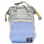 Αδιάβροχη Τσάντα Μωρού Πλάτης με 3 Θήκες Μπιμπερό Mommy Bag AiFi - Σακίδιο Backpack Γαλάζιο, Γκρι Ριγέ ΟΕΜ
