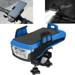 Αδιάβροχη USB Επαναφορτιζόμενη Βάση Κινητού Powerbank, Κόρνα & Φως Πορείας - Φακός LED 800lm Ποδηλάτου - LED Bicycle Horn Lamp Μπλε