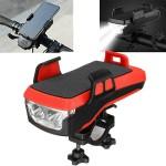Αδιάβροχη USB Επαναφορτιζόμενη Βάση Κινητού Powerbank, Κόρνα & Φως Πορείας - Φακός LED 800lm Ποδηλάτου - LED Bicycle Horn Lamp Κόκκινο OEM