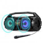 Ασύρματο Ηχείο - Ηχοσύστημα Καραόκε με Μικρόφωνο - Portable Bluetooth 5.0 Speaker Stereo Bass Soundbox RGB LED