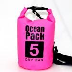 Αδιάβροχος Αεροστεγής Σάκος / Τσάντα 5L με Λουρί Ώμου που Επιπλέει στο Νερό Ocean Pack , Ροζ