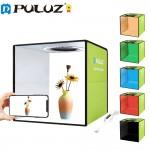 Μίνι Στούντιο Φωτογράφισης Puluz 30cm με Ring Light LED 10W Φωτισμό 5500K & 12 Χρώματα Background -  Αναδιπλούμενο Studio Photo Box Προϊόντων