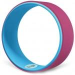 Ρόδα Κύλινδρος Pilates - Yoga Wheel με Ανάγλυφη Επιφάνεια Ροζ με Μπλε Εσωτερικό OEM