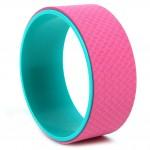 Ρόδα Κύλινδρος Pilates - Yoga Wheel με Ανάγλυφη Επιφάνεια - Ροζ με Πράσινο Εσωτερικό