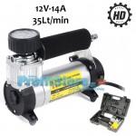 Ηλεκτρική Τρόμπα Αέρος 100 PSI Αυτοκινήτου Υψηλής Απόδοσης & Ισχύος 12V, 14Α - 35Lt/m με Θήκη Μεταφοράς